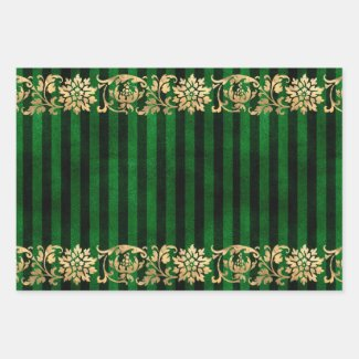 Elegant Green and Gold Wrapping Paper