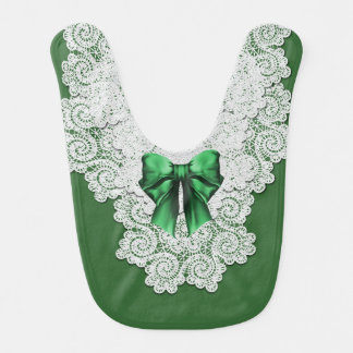 Elegant Green and Lace Special Occasion Baby Bib