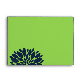 Elegant Green and Navy Blue Floral Burst Envelope
