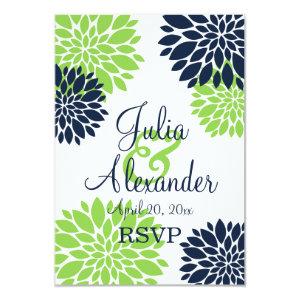 Elegant Green and Navy Blue Floral Burst RSVP 3.5x5 Paper Invitation Card