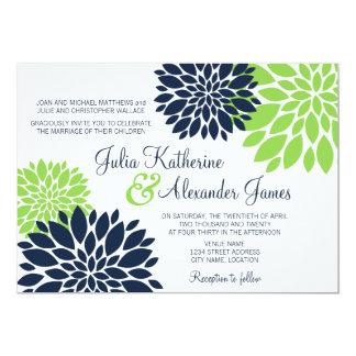 Elegant Green and Navy Blue Floral Burst Wedding Card