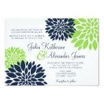 Elegant Green and Navy Blue Floral Burst Wedding 5x7 Paper Invitation Card