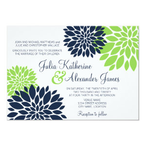 Elegant Green and Navy Blue Floral Burst Wedding 5x7 Paper Invitation Card
