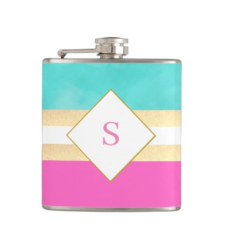 Elegant green and pink with monogram flask