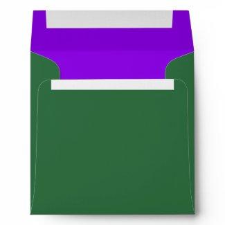 Elegant Green and Purple Linen Envelopes