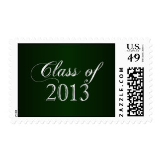 Elegant Green and Silver Class of 2013 Stamp