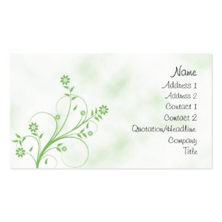 Elegant green and white floral design business card template