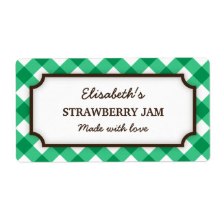 Elegant green and white gingham canning jar labels
