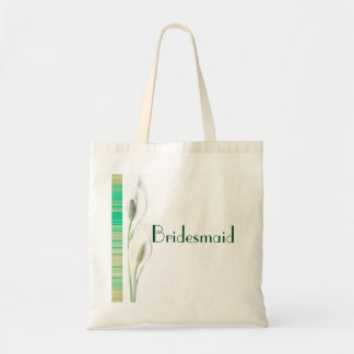 Elegant Green and White  Lily Floral Wedding Tote Bag