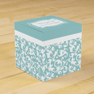 Elegant Green and White Scroll Damask Wedding Favor Box