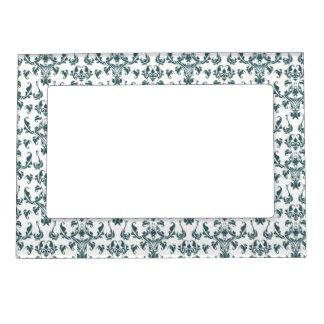 Elegant Green and White Vintage Victorian Damask Magnetic Frame
