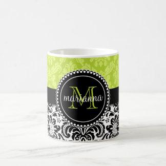 Elegant Green Black Damask Personalized Classic White Coffee Mug