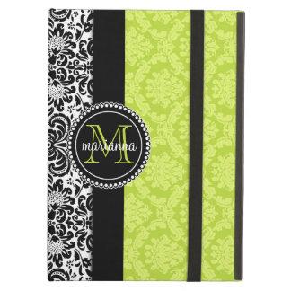 Elegant Green Black Damask Personalized iPad Covers