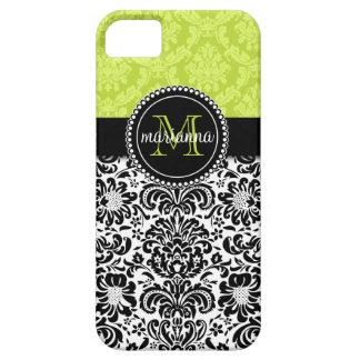 Elegant Green Black Damask Personalized iPhone SE/5/5s Case