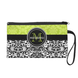 Elegant Green Black Damask Personalized Wristlet