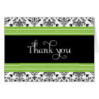 Elegant Green & Black Damask Thank You Card
