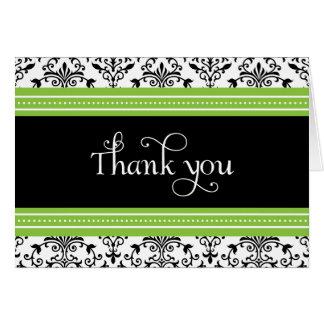 Elegant Green & Black Damask Thank You Card