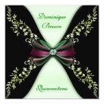 Elegant Green Black Diamond Bow Quinceanera Invitation