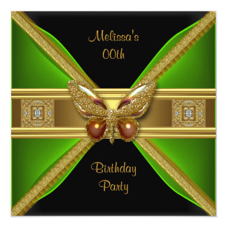 Elegant Green Black Gold Butterfly Image Party Card