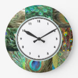 Elegant Green & Blue Peacock feather pattern Wall Clocks