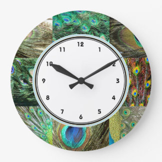 Elegant Green & Blue Peacock feather pattern Wall Clocks