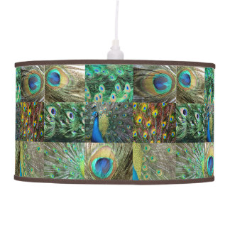 Elegant Green & Blue Peacock feather pattern Lamp
