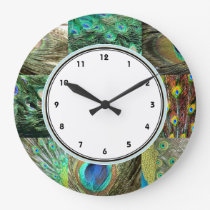Elegant Green & Blue Peacock feather pattern Large Clock