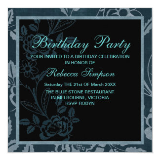 Elegant Green & Blue Rose Birthday Invitation