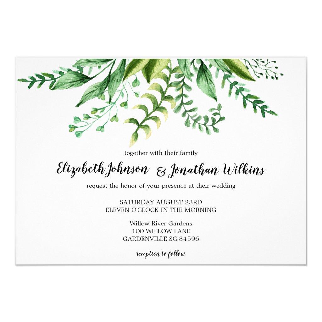 Elegant Green Botanical Wedding Ceremony Invitation