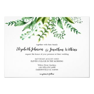 Elegant Green Botanical Wedding Ceremony Invitation