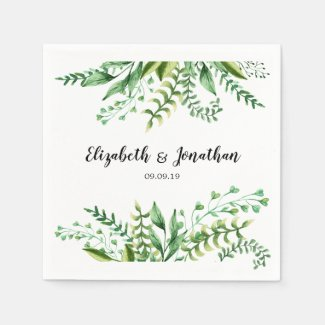 Elegant Green Botanical Wedding Napkin