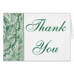 Elegant green Brocade border Thank you note card