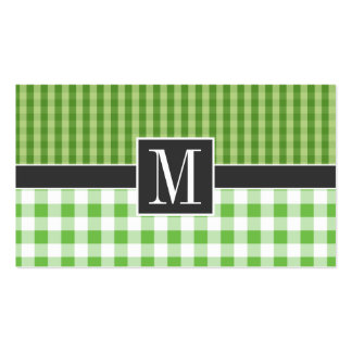 Elegant Green Checkered Double-Sided Standard Business Cards (Pack Of 100)