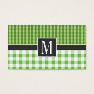 Elegant Green Checkered Business Card