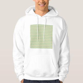 Elegant Green Chevron Pattern Hoodie