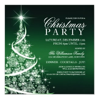 Elegant Green Christmas Party Invitation