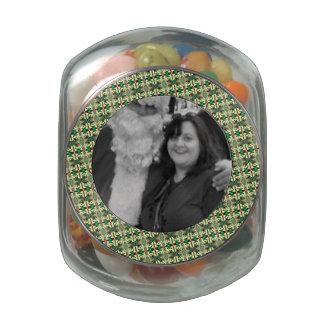 Elegant Green Christmas Pattern Round Photo Frame Glass Candy Jars