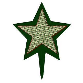 Elegant Green Christmas Star Cake Topper
