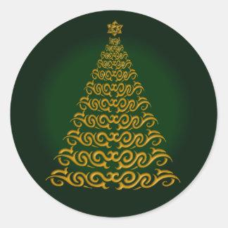 Elegant Green  Christmas Tree Stickers