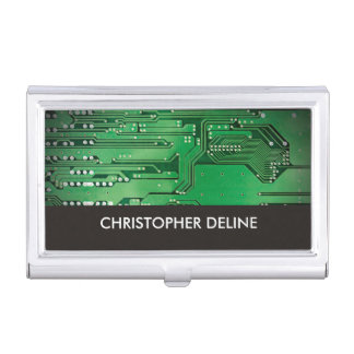 Elegant Green Computer Circuit Board HighTech Business Card Case