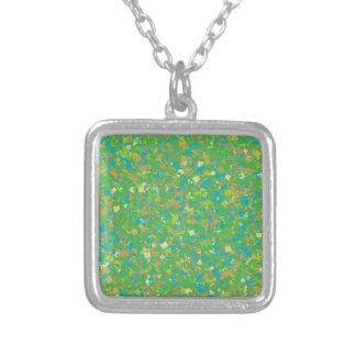 Elegant Green Confetti TEMPLATE Add text image fun Silver Plated Necklace