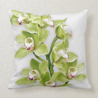 Elegant Green Cymbidium Orchid Throw Pillow