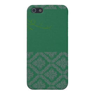 Elegant Green Damask and White blossom iPhone 5 Covers