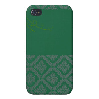 Elegant Green Damask and White blossom iPhone 4/4S Cases