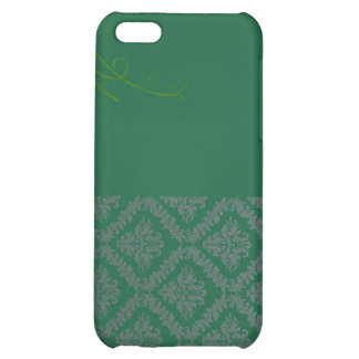 Elegant Green Damask and White blossom iPhone 5C Cover