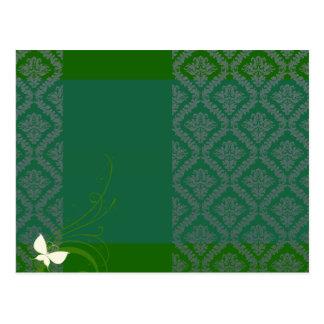 Elegant Green Damask and White blossom Postcard
