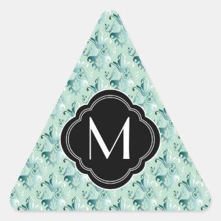 Elegant Green Damask Pattern and Monogram Triangle Sticker