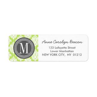 Elegant Green Damask Personalized Label