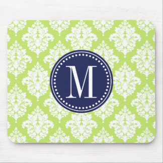 Elegant Green Damask Personalized Mouse Pad