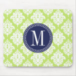 Elegant Green Damask Personalized Mouse Pads